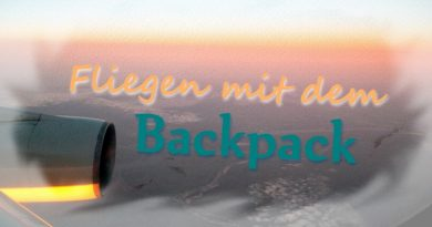 fliegen mit backpack