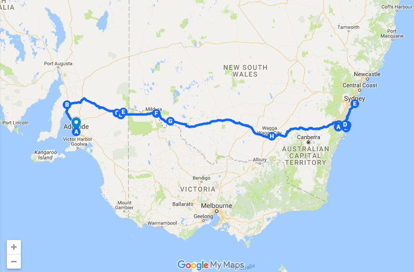map roadtrip adelaide sydney
